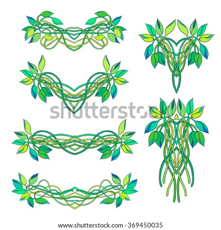 Set of floral vignettes and bouquets isolated on white background. Twisted stems and buds of Tradescantia. Perfect for greetings, invitations, announcement, web design.  - stock vector