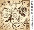 Set of floral vintage vector design elements. - stock vector