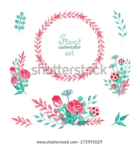 Set of floral watercolor elements - stock vector