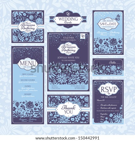Set of floral wedding cards. Wedding invitations. Thank you card. Save the date card. Table card. RSVP card and Menu. - stock vector
