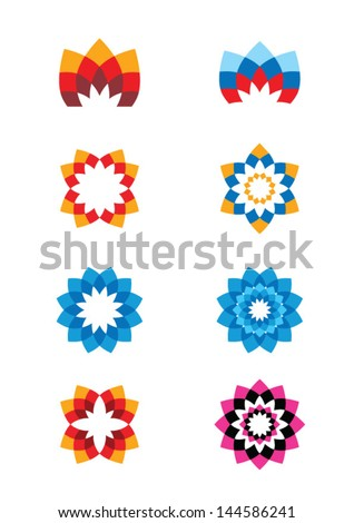 Set of flower abstract logos. Icons for any type of business. Vector - stock vector