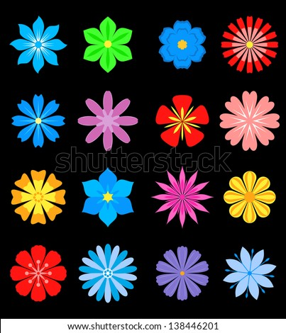 Set of flower blossoms isolated on background for design and ornate. Jpeg (bitmap) version also available in gallery - stock vector
