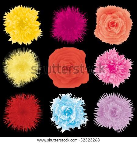 Set of flower design element, part 1, vector illustration - stock vector
