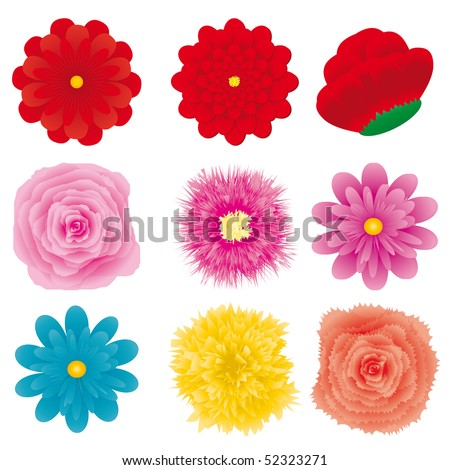 Set of flower design element, part 3, vector illustration - stock vector