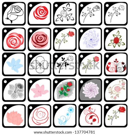 Set of flower design elements - stock vector