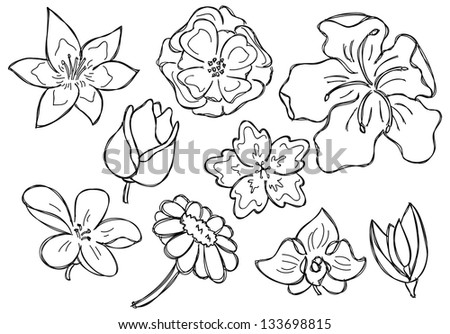 set of flower doodle - stock vector
