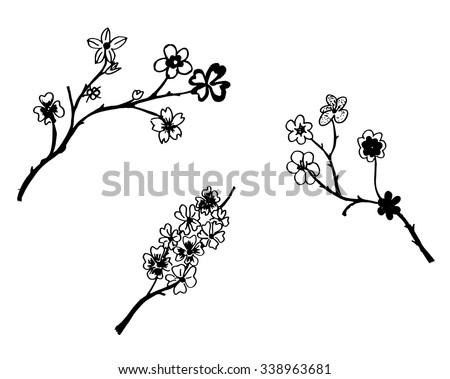 Set of flower doodles flower - stock vector