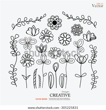 Set of flower doodles.flower doodle.vector illustration. - stock vector