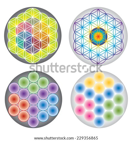 Set of Flower of Life Icons / Symbols Multicolored and Rainbow Colors - stock vector