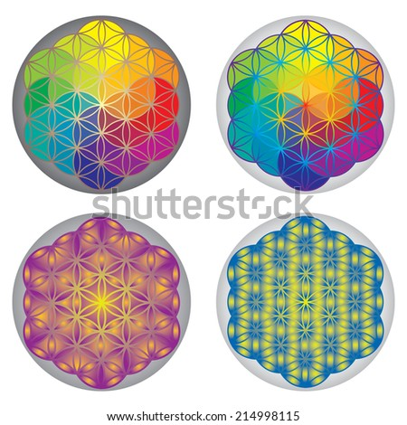 Set of Flower of Life Symbols - Rainbow Colors - stock vector
