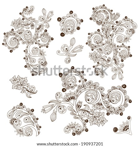 Set of flower pattern engraving scroll motif for vintage design card vector isolated on the white background. Henna Paisley Mehndi Doodles Design Elements. - stock vector