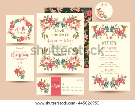 Set of Flower Save The Date Card