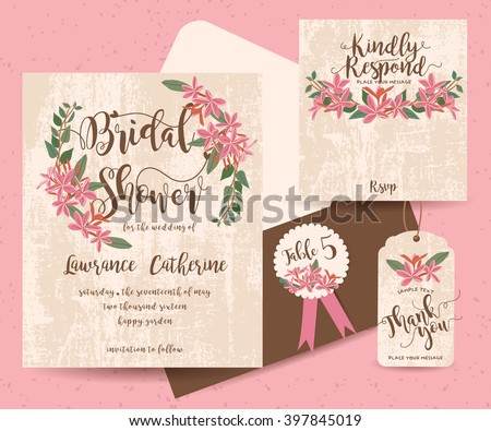 Set of Flower Save The Date Card ( invitation, thank you, Save the date, RSVP, Just Married) - stock vector