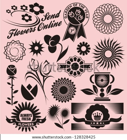 Set of flower symbols, icons and signs. Floral collection of decorative vectors. Design elements for gardening, flower shops and beauty or spa salons. - stock vector