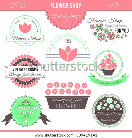 Set of flower symbols, logotypes, badges, icons and signs. Vector floral collection. Colored design elements for flower shops and florists.  - stock vector