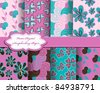 set of flower vector paper for scrapbook - stock vector