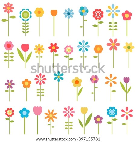 set of flowers - stock vector