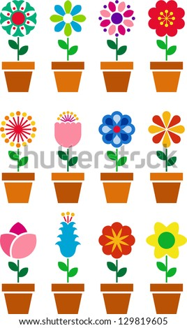 Set of flowers in a pot