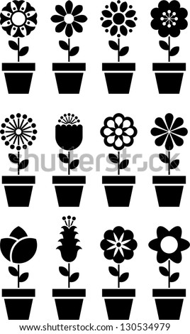 Set of flowers in a pot - stock vector
