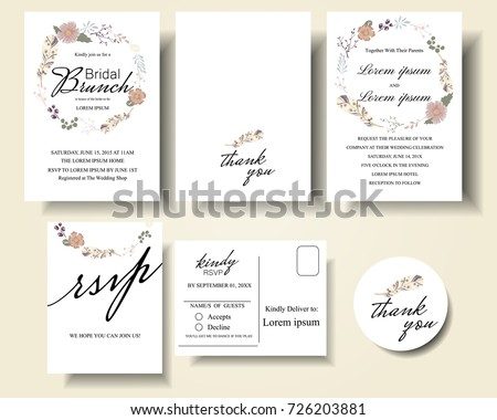 Set flowers round wreath wedding invitation stock vector hd royalty set of flowers round wreath wedding invitation cardminimalist stylen used birthday card stopboris Image collections