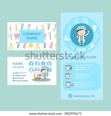 Set of flyer and business cards for dental clinic. cute cartoon tooth and doctor, great for your design - stock vector