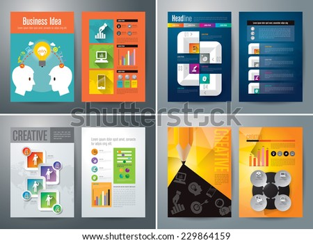 Set of Flyer, Brochure Design Templates. Geometric Triangular Abstract Modern Backgrounds. Applications and Online Services Infographic Concept. - stock vector