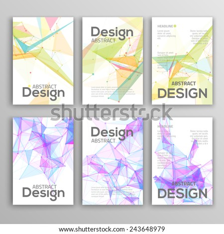 Set of Flyer, Brochure Design Templates. Geometric Triangular Abstract Modern Backgrounds.  - stock vector