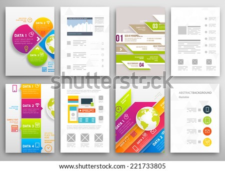 Set of Flyer, Brochure Design Templates. Geometric Triangular Abstract Modern Backgrounds. Mobile Technologies, Applications and Online Services Infographic Concept. - stock vector