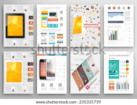 Set of Flyer, Brochure Design Templates. Geometric Triangular Abstract Modern Backgrounds. Mobile Technologies, Applications and Online Services Infographic Concept. A4 Cover Templates Collection. - stock vector