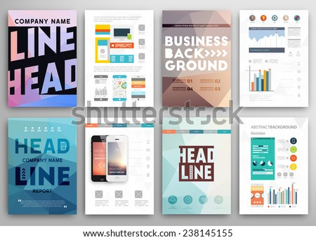 Set of Flyer, Brochure Design Templates. Geometric Triangular Abstract Modern Backgrounds. Mobile Technologies, Applications and Online Services Infographic Concept. Typographic Emblems, Logo, Banners - stock vector