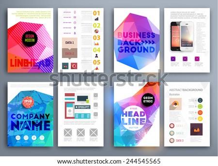 Set Flyer Brochure Design Templates Geometric Stock Vector ...