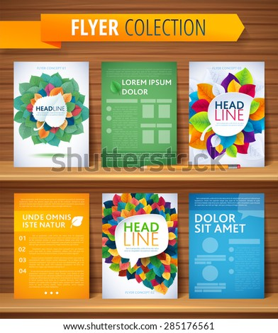 Set of Flyer, Brochure Design Templates. Leaves Natural and Ecology Concept.