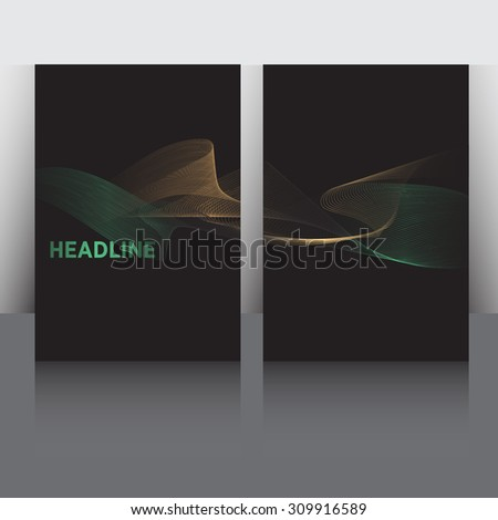 Set of Flyer, Brochure Design Templates. Smoke waves in various colors. Abstract Modern Black Backgrounds. Mobile Technologies, Applications and Online Services. Mock up. Shine effect. - stock vector
