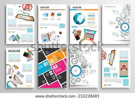 Set Flyer Design Web Templates Brochure Stock Vector 231650293