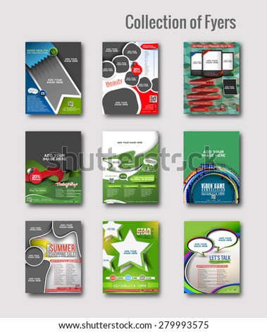 Set of Flyer & Poster Design in A4 Size Template. - stock vector