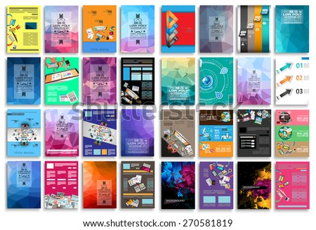 Set of Flyers, background, infographics, low polygon backgrounds, teamwork concepts and so on. 16 pieces with different styles and colors. - stock vector