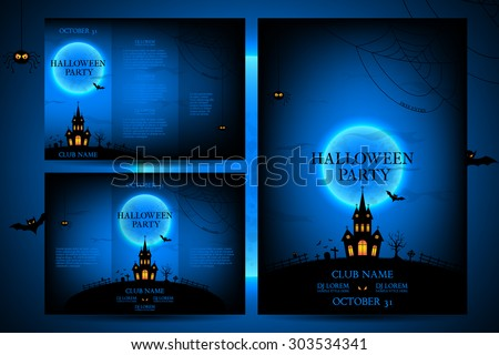 Set of flyers for halloween vector illustration. Templates of posters with terrible house on blue background. Halloween party greeting cards. - stock vector