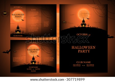Set of flyers for halloween vector illustration. Templates of posters with terrible house on orange background. Halloween party greeting cards. - stock vector