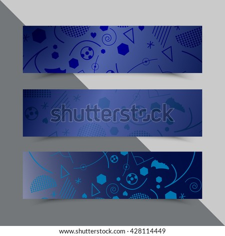 Set of flyers with background for Euro 2016 World FIFA championship. France. Football competition. Template, brochure design. Championship soccer background with different shapes. Geometric pattern - stock vector