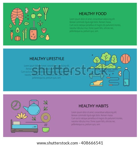 Set of flyers with diet and healthy lifestyle elements. Vector collection web banners - healthy lifestyle, habits and healthy food. Motivational concept with diet and fitness theme. - stock vector
