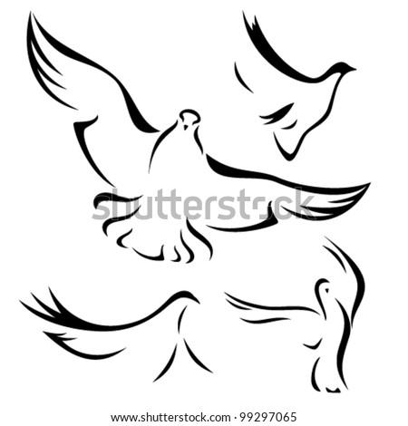 set of flying doves - black vector outlines over white - stock vector