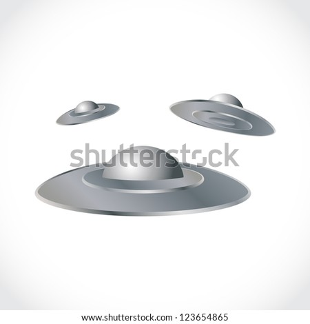 Set of flying saucers, illustration - stock vector
