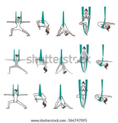 Set of flying yoga poses - stock vector