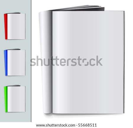 Set of folded blank magazines - stock vector