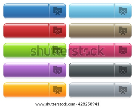 Set of folder cancel glossy color menu buttons with engraved icons - stock vector