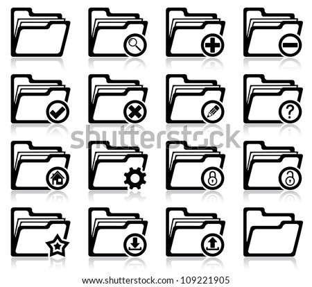 Set of folder management and administration icons - stock vector