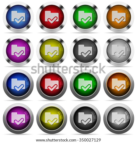 Set of folder ok glossy web buttons. Arranged layer structure. - stock vector