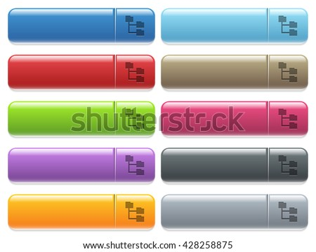 Set of folder structure glossy color menu buttons with engraved icons - stock vector