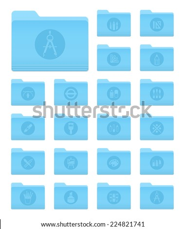 Set of 20 Folders Icons in OS X Yosemite Style with Art and Design Circle Pictograms - stock vector
