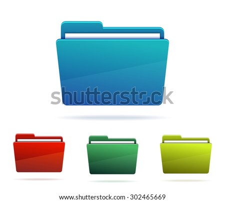 Set of Folders with papers. Vector illustration. - stock vector